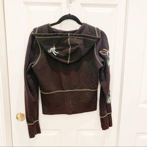 Roxy Zip-up Embroidered Embellished Hoodie Jacket